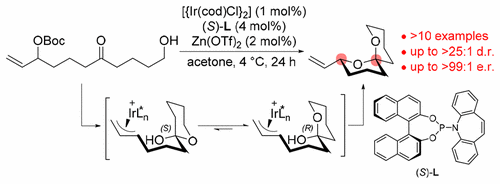 Enantio- and Diastereoselective Spiroketalization Catalyzed by Chiral Iridium Complex  J.Y. Hamilton, S.L. Rössler, E.M. Carreira, J. Am. Chem. Soc. 2017.