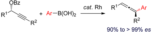 Rh-Catalyzed Stereospecific Synthesis of Allenes from Propargylic Benzoates and Arylboronic Acids