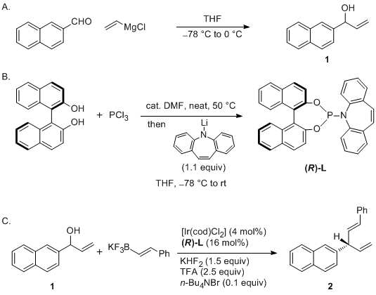 Iridium-Catalyzed Enantioselective Allylic Vinylation with Potassium Alkenyltrifluoroborates.  J. Y. Hamilton, D. Sarlah, E. M. Carreira, Org. Synth. 2015, 92, 1