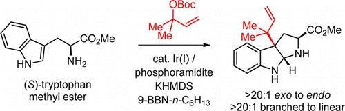 Ir-Catalyzed Reverse Prenylation of 3-Substituted Indoles: Total Synthesis of (+)-Aszonalenin and (−)-Brevicompanine B.  J. Ruchti, E.M. Carreira, J. Am. Chem. Soc. 2014, 136, 16756