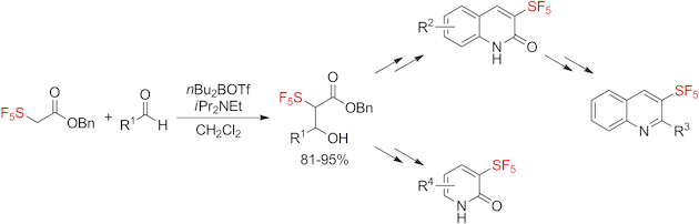Formation of α-SF5-Enolate Enables Preparation of 3-SF5-Quinolin-2-ones, 3-SF5-Quinolines, and 3-SF5-Pyridin-2-ones: Evaluation of their Physicochemical Properties.