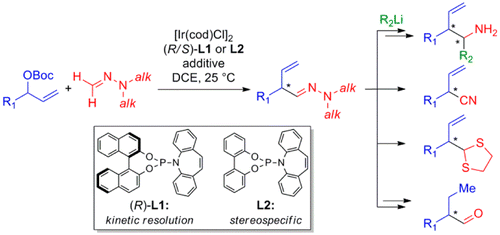 Formaldehyde N,N-Dialkylhydrazones as Neutral Formyl Anion Equivalents in Iridium-Catalyzed Asymmetric Allylic Substitution.  S. Breitler, E.M. Carreira, J. Am. Chem. Soc. 2015, 137, 5296